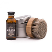 Wisdom Beard Oil with Horsehair Beard Oil Brush Set | Natural, Woodsy Scent