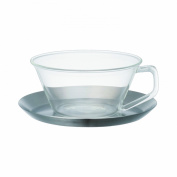 Kinto Cast Tea Cup & Saucer - Glass Cup & Stainless Steel Saucer