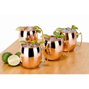 Copper Moscow Mule Mug Handmade of 100% Pure Copper, Brass Handle Plain Moscow Mule Mug / Cup 470ml,set Of-4,
