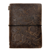 ZLYC Vintage Handmade Refillable Leather Flowers Emboss Passport Size Travellers Journals Diary Notepad Notebook, Dark Coffee