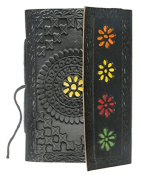 M & N Hand Crafted, Hand Painted, Embossed, Coloured Leather Travel Journal, Sketch Book, Dairy, Notebook Black