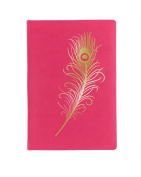Eccolo World Traveller Flexible Journal, Fuchsia Single Feather