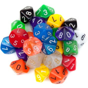 Bry Belly GDIC-1204 25 Pack of Random D10 Polyhedral Dice in Multiple Colours
