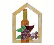 Gift Essentials GE126 Small Wine Bottle Glass Grapes Scene Steeple Window Panel