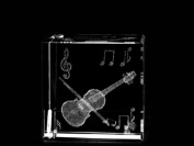 Asfour Crystal 1161-50-26 2 L x 2 H x 2 W in. Crystal Laser-Engraved Violin Music Laser-Cut