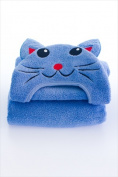 Little Ashkim HTC002 Toddler Cat Hooded Turkish Towel - Blue 2 Years-5 Years