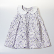 Little Ashkim BGCDRESS1824 Peter Pan Collar Girl Dress - White With Flower Prints 18-24 Months