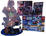 block Star Wars Advent 2015 Calendar Bundle Pack Set - Mini . Lit Silver Christmas Tree, 4 Ornaments- Yoda, Chewbacca, Darth Vader, Storm Trooper, Tree Skirt, 2016 Calendar and Darth Vader #1 Comic Book