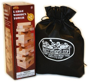 """Large Wooden Tower Deluxe Stacking Game with Exclusive """"Matty's Toy Stop"""" Storage Bag"""