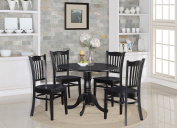 East West Furniture DLGR5-BLK-W 5-Piece Kitchen Table Set, Black Finish