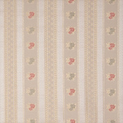 Designer Fabrics D129 140cm . Wide Gold White Red And Green Floral Striped Brocade Upholstery Fabric