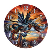 The Highgate Horror Bloodlust Dragon Wall Clock By Alchemy Gothic Round Plate 34cm D
