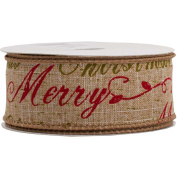 JAM Paper® - Natural Brown Merry Christmas Wire Edge Ribbon (3.8cm x 10 Yards Long) - Sold Individually