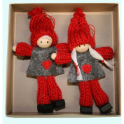 Boy and Girl Tomte Yarn Ornaments