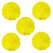 Wrapables Tissue Pom Poms Party Decorations for Weddings, Birthday Parties, Baby Showers and Nursery Decor, Yellow, 20cm , Set of 5