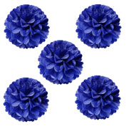 Wrapables Tissue Pom Poms Party Decorations for Weddings, Birthday Parties, Baby Showers and Nursery Decor, Navy, 20cm , Set of 5