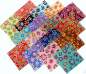17 25cm Layer Cake Retro Flower Power Quilt Fabric Squares