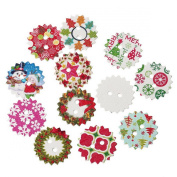 100pcs Mixed Trimmed Wood Buttons Christmas Pattern Printed Sewing Scrapbooking 24mm