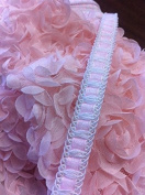 Baby Pink Ribbon with White Lace Trim, 1.3cm , 5 Yards