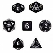 Brybelly GDIC-1105 7 Die Polyhedral Dice Set in Velvet Pouch- Opaque Black