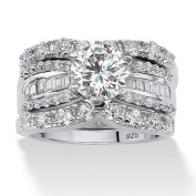 PalmBeach Jewellery 476249 3 Piece 5.62 TCW Round Cubic Zirconia Bridal Ring Set in Platinum over Sterling Silver Size 9