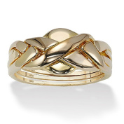 PalmBeach Jewellery 4339710 Puzzle Ring in 18k Gold over Sterling Silver Size 10