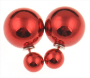 Best Desu 17962SR Double Sided Pearl Stud Earrings Shiny Red