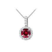 Fine Jewellery Vault UBUNPD31481W14CZR600 Fancy Round Ruby and Cubic Zirconia Halo Pendant in 14K White Gold