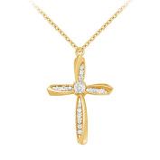 Fine Jewellery Vault UBNPD30686Y14D April Birthstone Diamonds Cross Pendant in 14K Yellow Gold 0.50 CT TDW