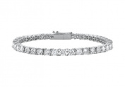 Fine Jewellery Vault UBBR14WR131400CZ 14K White Gold Cubic Zirconia Prong Set 4 CT TGW Tennis Bracelet