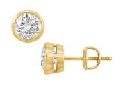 Fine Jewellery Vault UBER14YGBZ150DSI 14K Yellow Gold Bezel Set Round Diamond Stud Earrings 1.50 CT. TW.