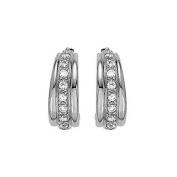 Fine Jewellery Vault UBNER40271W14CZ06620 April Birthstone Cubic Zirconia Hoop Earrings for Women in 14K White Gold 0.66 CT TGW