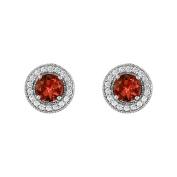 Fine Jewellery Vault UBNER40936AGCZGR600 January Birthstone Garnet and Cubic Zirconia Halo Stud Earrings in Sterling Silver 2.50 CT TGW