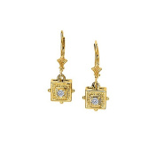 Fine Jewellery Vault UBNER40178Y14D April Birthstone Diamonds Square Earrings in 14K Yellow Gold