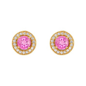 Fine Jewellery Vault UBUNER40936Y14CZPS600 September Birthstone Created Pink Sapphire and CZ Halo Stud Earrings in 14kt Yellow Gold 2.50 CT