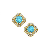 Fine Jewellery Vault UBUNER40869Y14CZBT December Birthstone Created Blue Topaz with CZ Earrings in 14K Yellow Gold