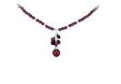 Fine Jewellery Vault UBNKS69946AGFWP Rhodolite Garnet and Freshwater Cultured Dyed Pearl Necklace in 925 Sterling Silver