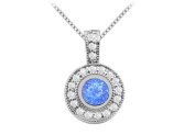 Fine Jewellery Vault UBUPDC374W14CZS Bezel Set Round Created Sapphire Pendant with Cubic Zirconia in White Gold 14K 2 Carat TGW
