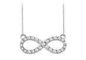 Fine Jewellery Vault UBPD3042W14D Diamond Infinity Necklace in 14K White Gold Half Carat Diamonds