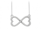 Fine Jewellery Vault UBPDH477W14D Infinity Diamond Double Heart Design Necklace in 14K White Gold 0.50 Carat Diamonds