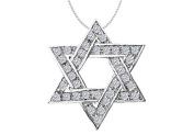 Fine Jewellery Vault UBPDR273W14D 14K White Gold Star of David Necklace with Diamonds of 0.75 Carat