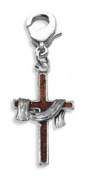 Whimsical Gifts 4497S Cross with Shroud Charm Dangle Silver