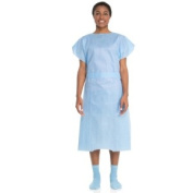 Halyard Health 69766 Large Patient Exam Gown Disposable Blue - 10 Per Pack