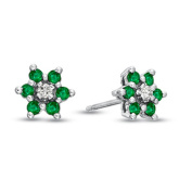Luis Creations ERL1305ED 0.48 Ct. Emerald And Diamond Flower Cluster Earrings In 14K Gold