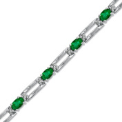 Luis Creations BRB34ED 3.55 Ct. 5 X 3 Oval Emerald And Diamond Bracelet Set In 14K Gold