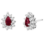 Luis Creations EA268RD 0.80 Ct. Diamond And Natural Heated Ruby Earring In 14K Gold
