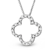 Luis Creations PRL1104-020A 14K Gold Lucky Clover Pendant With 0.20 Ct. Hi I Diamond Quality Diamonds 0.5 L X 0.5 W in.