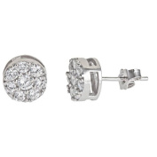 Simply Silver SSE137 Sterling Silver Round Micropave Stud Earring