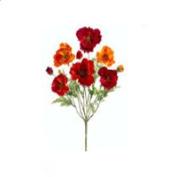 FBP974-RE-OR 46cm . Small Red-Orange Poppy Bush X9- Case of 12