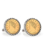 UPM Global LLC 12742 Gold-Layered Liberty Nickel Silvertone Rope Bezel Cuff Links